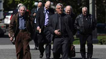 Brother Brian Cochrane and retired dam builders in Victoria for meetings with Senior Government Ministers. (Photo: CHAD HIPOLITO For THE GLOBE AND MAIL)